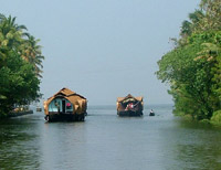 Houseboats on cruise at Kerala Backwaters